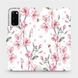 Flipové pouzdro Mobiwear na mobil Samsung Galaxy S20 - M124S Růžové květy