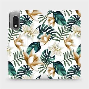Flipové pouzdro Mobiwear na mobil Samsung Xcover PRO - MC07P Zlatavé květy a zelené listy