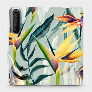 Flipové pouzdro Mobiwear na mobil Sony Xperia 1 II - MC02S Žluté velké květy a zelené listy