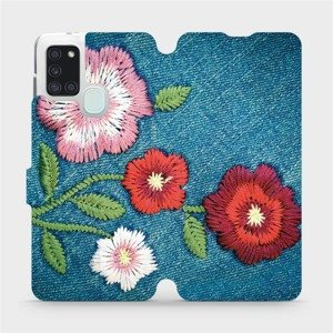 Flipové pouzdro Mobiwear na mobil Samsung Galaxy A21S - MD05P Džínové květy