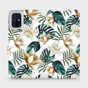 Flipové pouzdro Mobiwear na mobil Samsung Galaxy M31s - MC07P Zlatavé květy a zelené listy