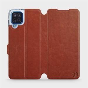 Flipové pouzdro Mobiwear na mobil Samsung Galaxy M12 v provedení C_BRP Brown&Orange s oranžovým vnitřkem