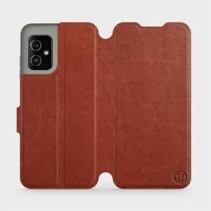 Flip pouzdro Mobiwear na mobil Asus Zenfone 8 v provedení C_BRP Brown&Orange s oranžovým vnitřkem