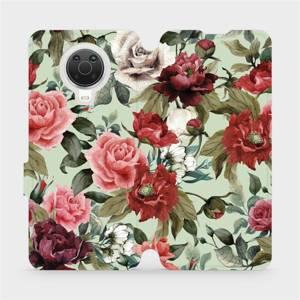 Flip pouzdro Mobiwear na mobil Nokia G20 - MD06P Růže a květy na světle zeleném pozadí