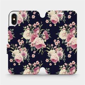 Flipové pouzdro Mobiwear na mobil Apple iPhone X - V068P Růžičky