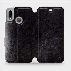 Flipové pouzdro Mobiwear na mobil Huawei P20 Lite v provedení C_BLS Black&Gray s šedým vnitřkem