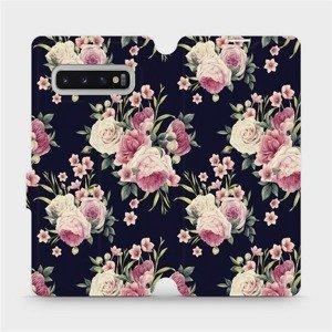 Flipové pouzdro Mobiwear na mobil Samsung Galaxy S10 Plus - V068P Růžičky