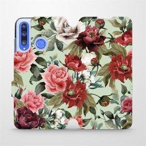 Flipové pouzdro Mobiwear na mobil Honor 20 Lite - MD06P Růže a květy na světle zeleném pozadí