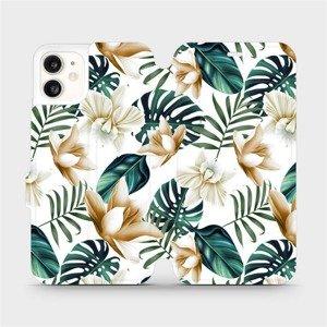 Flipové pouzdro Mobiwear na mobil Apple iPhone 11 - MC07P Zlatavé květy a zelené listy