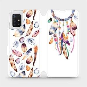 Flipové pouzdro Mobiwear na mobil Samsung Galaxy A51 - M003S Lapač a barevná pírka