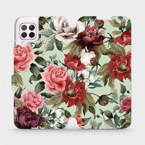 Flipové pouzdro Mobiwear na mobil Huawei P40 Lite - MD06P Růže a květy na světle zeleném pozadí