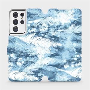 Flipové pouzdro Mobiwear na mobil Samsung Galaxy S21 Ultra 5G - M058S Světle modrá horizontální pírka