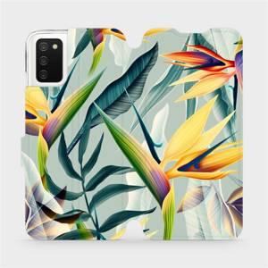 Flipové pouzdro Mobiwear na mobil Samsung Galaxy A02s - MC02S Žluté velké květy a zelené listy