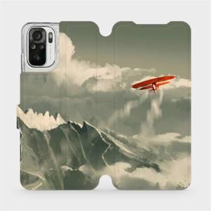 Flipové pouzdro Mobiwear na mobil Xiaomi Redmi Note 10S - MA03P Oranžové letadlo v horách