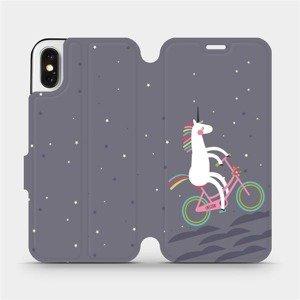 Flipové pouzdro Mobiwear na mobil Apple iPhone X - V024P Jednorožec na kole