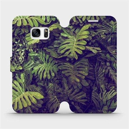 Flipové pouzdro Mobiwear na mobil Samsung Galaxy S7 Edge - V136P Zelená stěna z listů