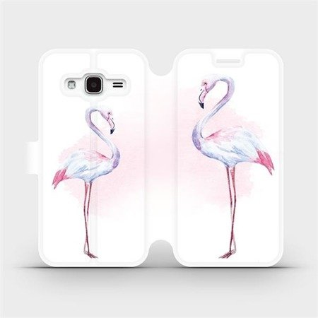 Flipové pouzdro Mobiwear na mobil Samsung Galaxy J3 2016 - M005S Plameňáci