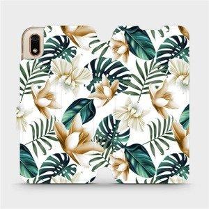 Flipové pouzdro Mobiwear na mobil Huawei Y5 2019 - MC07P Zlatavé květy a zelené listy
