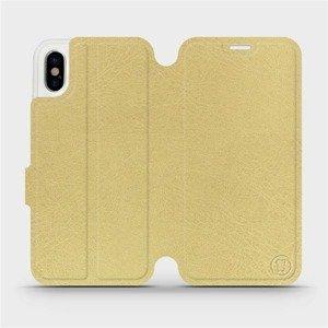 Parádní flip pouzdro Mobiwear na mobil Apple iPhone X v provedení C_GOP Gold&Orange s oranžovým vnitřkem