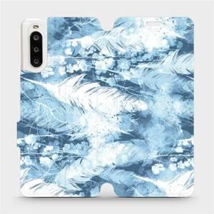 Flipové pouzdro Mobiwear na mobil Sony Xperia 10 II - M058S Světle modrá horizontální pírka