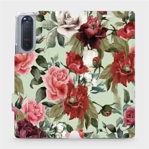 Flipové pouzdro Mobiwear na mobil Sony Xperia 5 II - MD06P Růže a květy na světle zeleném pozadí
