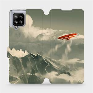 Flipové pouzdro Mobiwear na mobil Samsung Galaxy A42 5G - MA03P Oranžové letadlo v horách