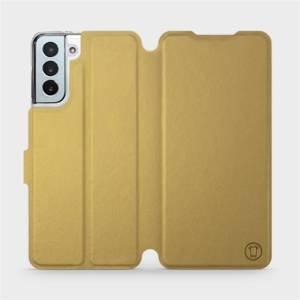 Flipové pouzdro Mobiwear na mobil Samsung Galaxy S21 Plus 5G v provedení C_GOP Gold&Orange s oranžovým vnitřkem