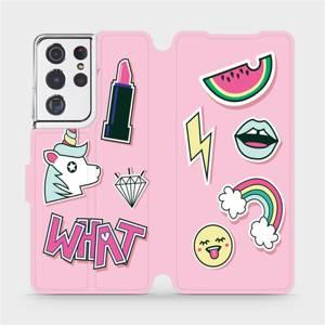 Flipové pouzdro Mobiwear na mobil Samsung Galaxy S21 Ultra 5G - M129S Růžové WHAT