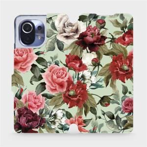 Flipové pouzdro Mobiwear na mobil Xiaomi Mi 11 - MD06P Růže a květy na světle zeleném pozadí
