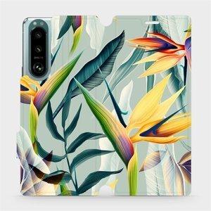 Flip pouzdro Mobiwear na mobil Sony Xperia 5 III - MC02S Žluté velké květy a zelené listy