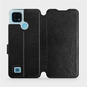 Flip pouzdro Mobiwear na mobil Realme C21 v provedení C_BLS Black&Gray s šedým vnitřkem