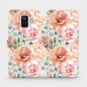 Flip pouzdro Mobiwear na mobil Samsung Galaxy A6 2018 - MP02S Pastelové květy