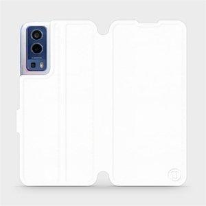 Flip pouzdro Mobiwear na mobil Vivo Y72 5G / Vivo Y52 5G v provedení C_WHP White&Orange s oranžovým vnitřkem