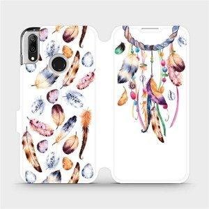 Flipové pouzdro Mobiwear na mobil Huawei Y7 2019 - M003S Lapač a barevná pírka