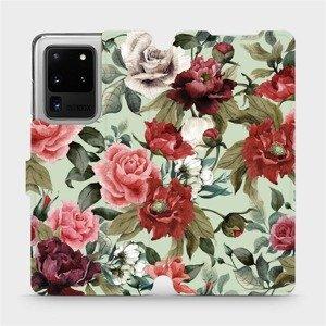 Flipové pouzdro Mobiwear na mobil Samsung Galaxy S20 Ultra - MD06P Růže a květy na světle zeleném pozadí