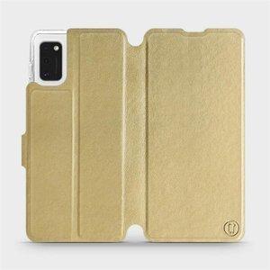 Flipové pouzdro Mobiwear na mobil Samsung Galaxy A41 v provedení C_GOS Gold&Gray s šedým vnitřkem