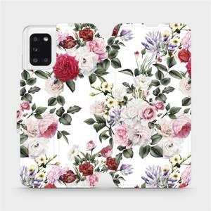 Flipové pouzdro Mobiwear na mobil Samsung Galaxy A31 - MD01S Růže na bílé