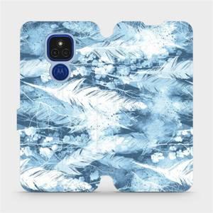 Flipové pouzdro Mobiwear na mobil Motorola Moto E7 Plus - M058S Světle modrá horizontální pírka