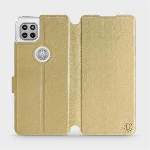 Flipové pouzdro Mobiwear na mobil Motorola Moto G 5G v provedení C_GOS Gold&Gray s šedým vnitřkem