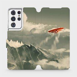 Flipové pouzdro Mobiwear na mobil Samsung Galaxy S21 Ultra 5G - MA03P Oranžové letadlo v horách