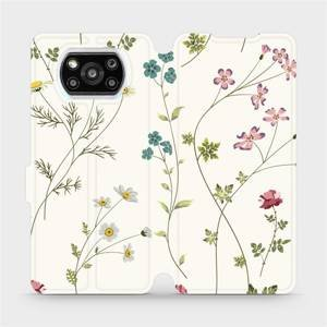 Flipové pouzdro Mobiwear na mobil Xiaomi Poco X3 Pro - MD03S Tenké rostlinky s květy