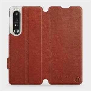 Flip pouzdro Mobiwear na mobil Sony Xperia 1 III v provedení C_BRP Brown&Orange s oranžovým vnitřkem