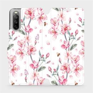 Flip pouzdro Mobiwear na mobil Sony Xperia 10 III - M124S Růžové květy