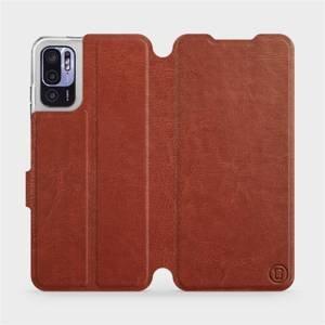 Flip pouzdro Mobiwear na mobil Xiaomi Redmi Note 10 5G v provedení C_BRP Brown&Orange s oranžovým vnitřkem