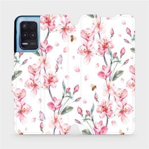 Flip pouzdro Mobiwear na mobil Realme 8 5G - M124S Růžové květy