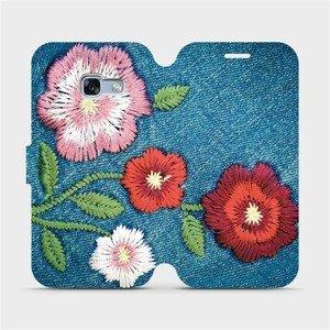 Flipové pouzdro Mobiwear na mobil Samsung Galaxy A3 2017 - MD05P Džínové květy