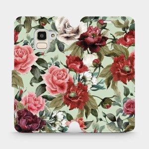 Flipové pouzdro Mobiwear na mobil Samsung Galaxy J6 2018 - MD06P Růže a květy na světle zeleném pozadí