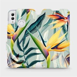 Flipové pouzdro Mobiwear na mobil Honor 10 Lite - MC02S Žluté velké květy a zelené listy