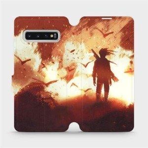 Flipové pouzdro Mobiwear na mobil Samsung Galaxy S10 - MA06S Postava v ohni