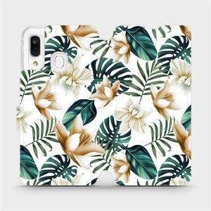 Flipové pouzdro Mobiwear na mobil Samsung Galaxy A40 - MC07P Zlatavé květy a zelené listy